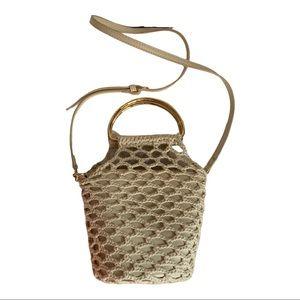 Zara Trafaluc Beige Crochet Bucket Bag 2 in One
